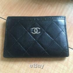 CHANEL Matrasse business card holder Card Case Black Women #2262Q