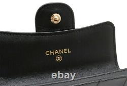 CHANEL V stitch here mark card case pass case business card holder leathe 3716