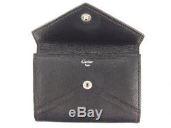 Cartier business card holder case Collection les mast black brown leather 21