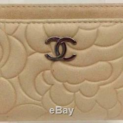 Chanel Camellia Card Case Business Card Holder Beige Ladies Accessories