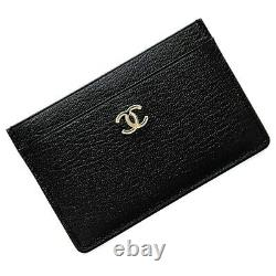 Chanel Card Case Black Coco Mark A11837 Leather 5s CHANEL Pass Business Holder L