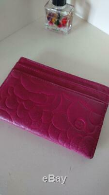Chanel ID Card Holder Card Case Business Card Red Pink Authentic #5169Q