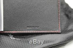 Chopard 95-7055 Black Leather Red Stitch 72 Business Card Holder Long 4.75x10