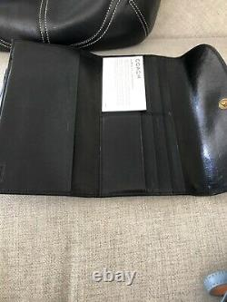 Coach Nwt Black Leather Zip Handbag Wallet And Credit Business Card Holder