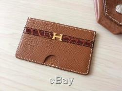 Crocodile Card Case Hermes business card holder insert the card vintage