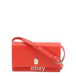 FURLA Women's Red Cross-body Bag With A Removable Card Holder Adjustable Strap