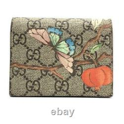 GUCCI 424896 GG Supreme butterfly card case business card holder wallet c