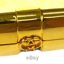 GUCCI Business Card Holder Gold Gold-tone Italy Vintage Authentic AK35560f