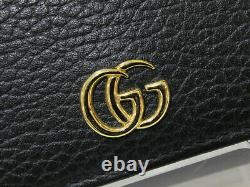 GUCCI Leather Card Case GG Marmont Black Business Card Holder Simple used