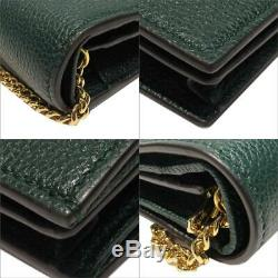 GUCCI Zumi Leather Business Card case Holder 570660-1B90X-3154 Leather Green