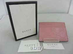 GUCCI card case GG pattern micro island leather business card holder bea 11810