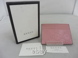 GUCCI card case GG pattern micro island leather business card holder beau