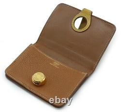 HERMES Dogon card case business card holder by color Togo Gold Brown Brow 1100