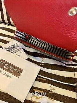 Henri Bendel West 57 Business Card Case Stripe Chili Pepper NWT