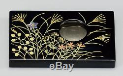 Japanese URUSHI lacquered business card holder, MAKIE, autumn flowers and plants