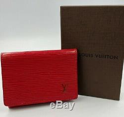 LV Louis Vuitton Business Card Holder Wallet Red Epi Leather