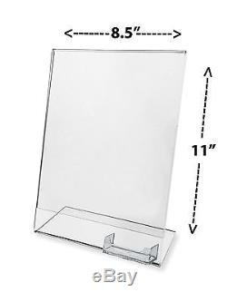 Lot of 100 Clear Flyer 8.5X11 Sign Display with Business Card Holder