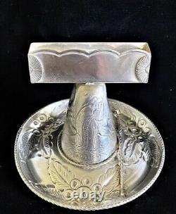 Maciel Sterling Silver Mexican Sombrero Business Card Holder 217 Grams