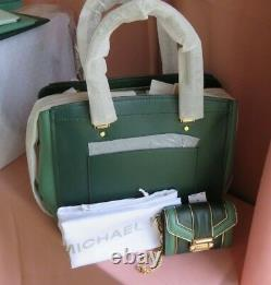 Michael Kors Large Rare Green Leather Satchel/x-body wallet or 3 pc wristlet Set