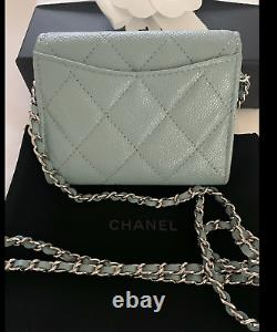 New Chanel Card Holder Clutch With Chain Pale Blue Caviar Leather Mini WOC 20B
