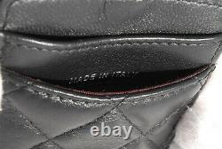 Rank AA CHANEL Matelasse Card Holder Pass Case Shoulder Chain Black Auth A0031