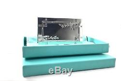 Tiffany & Co. 925 Silver Nature Bamboo Leaves Business Card Holder Case 18118F