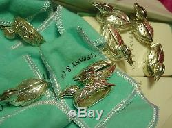 Tiffany & Co. Business Place Card Holders 8 Ducks Sterling Silver Blue Box Bags