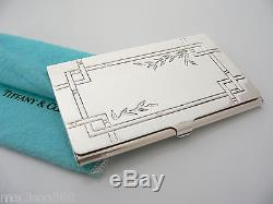 Tiffany & Co Silver Nature Bamboo Leaves Business Card Case Holder Rare with Pouch
