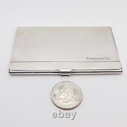 Tiffany Co Spain Engravable Sterling Silver Business Card Case Holder with Box
