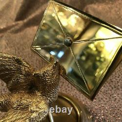 Vintage 14k Gold Plated Sectioned Business Card Holder with Bird Motif