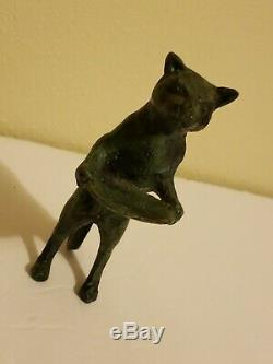 Vintage Giacometti Style Bronze Brass Cat Butler Business Card Holder 5 Figure